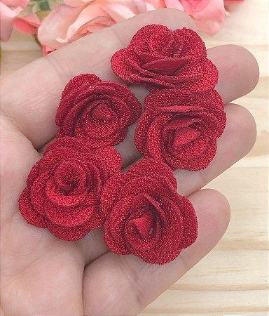 Florzinhas de Tecido - Vermelha - 3cm - 5 unidades