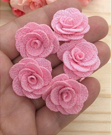 Florzinhas de Tecido - Rosa Claro - 3cm - 5 unidades