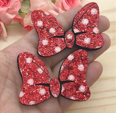 Laço Glitter Lonita Minie - Vermelho - 2 unidades