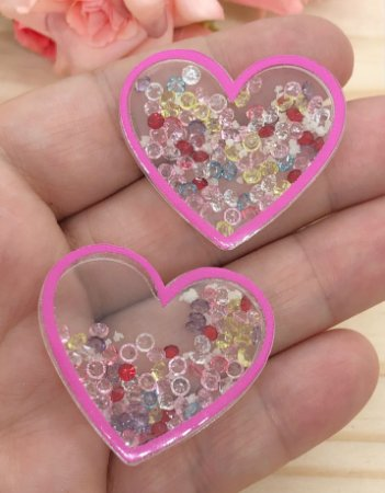 Aplique de Coração com Pedrinhas - Brilha no Escuro - Borda Rosa Pink - 2 Unidades
