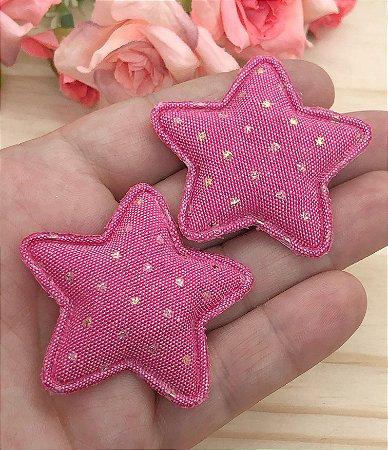Aplique de Estrela Tecido com Pontinhos Dourados - Pink - 2 unidades