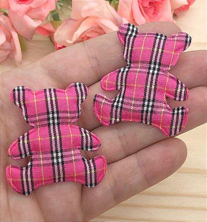 Aplique de Tecido - Ursinho Xadrez Pink - 2 unidades