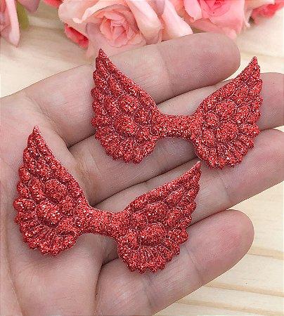 Aplique com Glitter - Asas Vermelha - 2 unidades