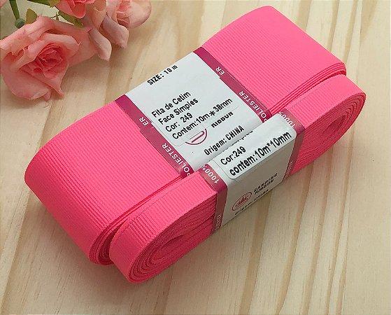 Fita de Gorgurão Sanding - Rosa Neon (249) - 10mm, 22mm ou 38mm - Rolo 10 metros