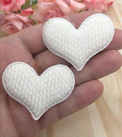 Aplique de Coração com Textura - Marfim - 2 unidades
