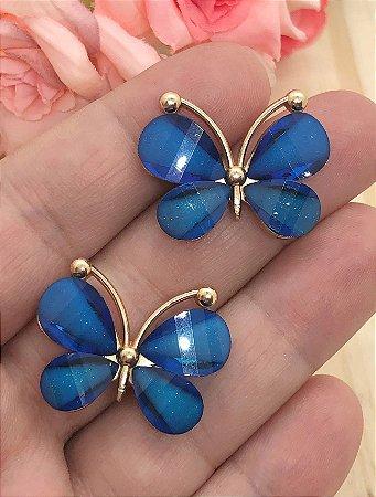 Aplique de Borboleta - Metal e Pedraria - Azul Royal - 2,3x3,0cm - Unidade