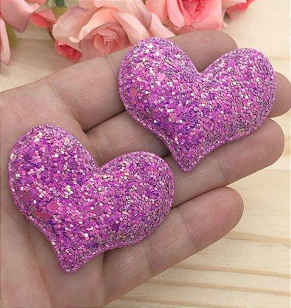 Aplique de Coração Glitter Flocado - Lilás - 2 unidades