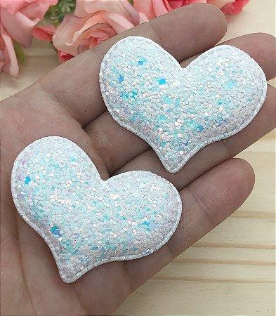 Aplique de Coração Glitter Flocado - Branco - 2 unidades