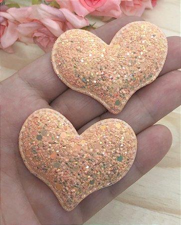Aplique de Coração Glitter Flocado - Salmão - 2 unidades