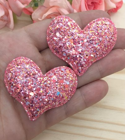 Aplique de Coração Glitter Flocado - Coral - 2 unidades