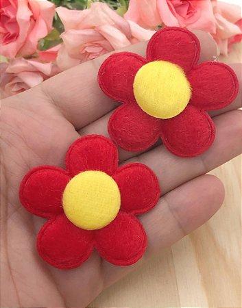 Aplique de Flor Pelúcia - Vermelha - 2 unidades