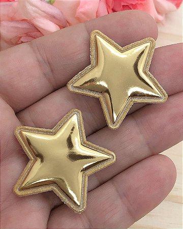 Aplique Metalizado Estrela - Dourada - 2 unidades