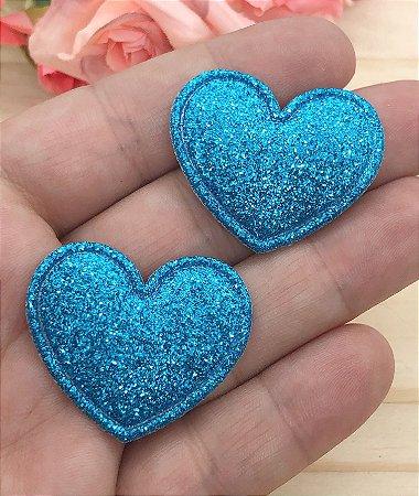 Aplique de Coração com Glitter Fino - Azul - 2 unidades