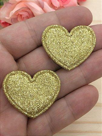 Aplique de Coração com Glitter Fino - Dourado - 2 unidades