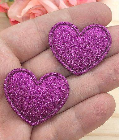 Aplique de Coração com Glitter Fino - Rosa Pink - 2 unidades