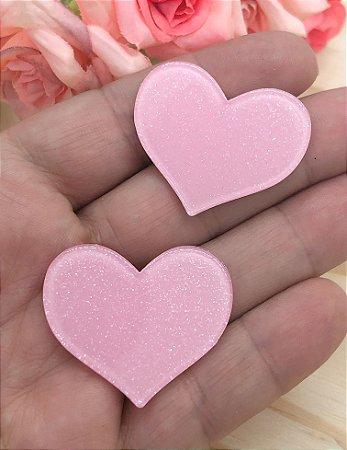 Aplique Acrílico com Brilho - Coração Rosa Claro - 2 unidades