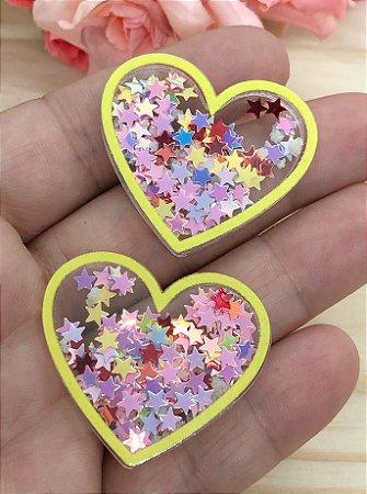 Aplique de Coração - Borda Amarela e Estrelinhas Coloridas - Brilha no Escuro - 2 unidades