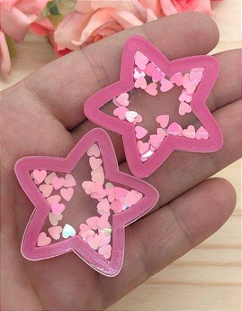 Aplique Acrílico - Estrela Pink e Corações Rosa Claro - 2 unidades