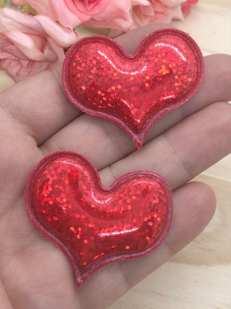 Aplique de Coração - Efeito Laser - Vermelho - 2 unidades