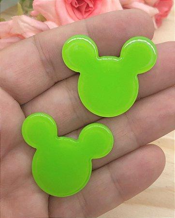 Aplique de Acrílico - Mickey/Minie Verde - 2 unidades
