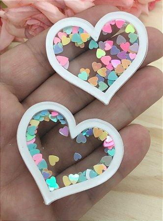 Aplique de Acrílico - Coração Branco com Coraçõezinhos Coloridos - 2 unidades