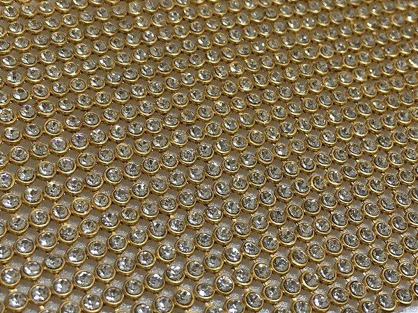 Manta de Strass Cristal Dourada - 10x45cm