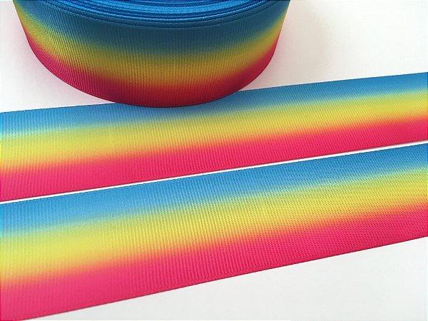 Fita de Gorgurão Estampada - Degradê Tricolor - Cores Vivas - Sakura - 24mm e 38mm