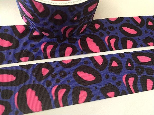 a1f79e7d8 Fita de Gorgurão Estampada - Animal Print Neon - Roxa e Pink - Gitex - 38mm