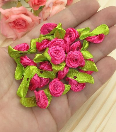 Florzinha Rococó com Folhas - Rosa Pink - Pacote 20 unidades
