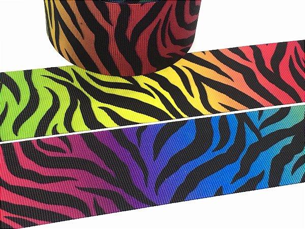 Fita de Gorgurão Estampada - Animal Print Multicor - Zebra - 38mm - Progresso