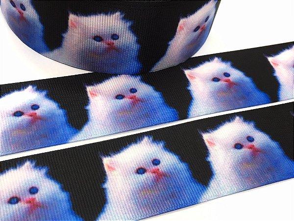 Fita de Gorgurão Estampada - Gatinha Branca - Sakura - 38mm
