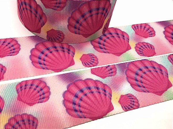 Fita de Gorgurão Estampada - Conchas Rosa - Artfitas - 38mm
