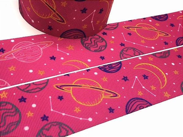 Fita de Gorgurão Estampada - Planetas Pink - Progresso - 38mm