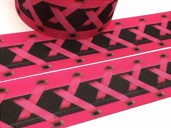 Fita de Gorgurão Estampada - Cadarço Rosa - Artfitas - 38mm