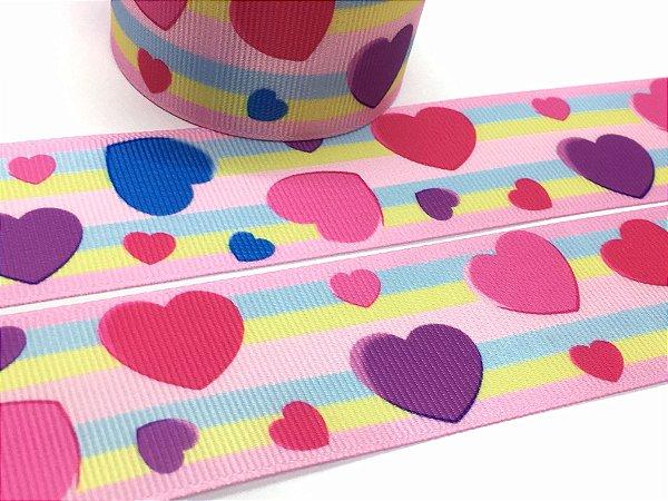 Fita de Gorgurão Estampada - Corações Listras Candy - Sakura - 38mm