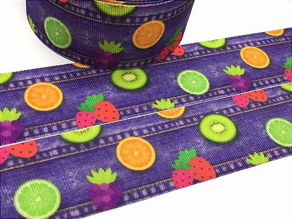 Fita de Gorgurão Estampada - Jeans com Frutinhas - Artfitas - 38mm