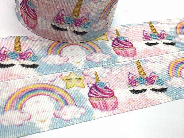Fita de Gorgurão Estampada - Unicórnio Cupcake - Artfitas - 38mm