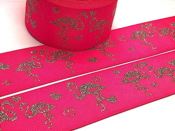 Fita de Gorgurão com Estampa Glitter - Pink Cítrico e Flamingos - Progresso - 38mm