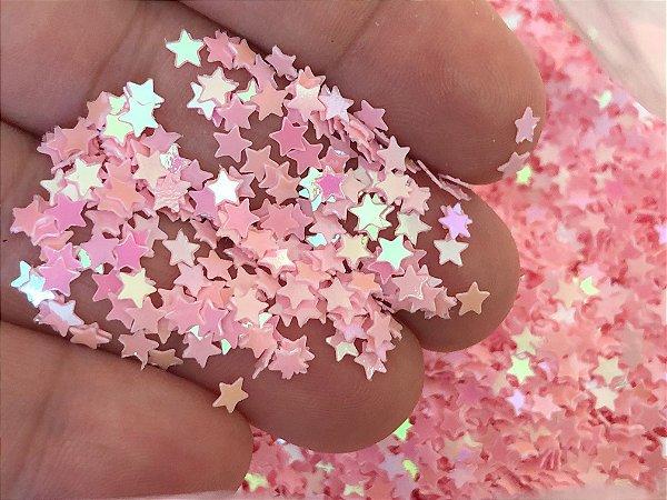 Micro Estrelinhas para Laços Piscina - Rosa Claro - Pacote 10 gramas