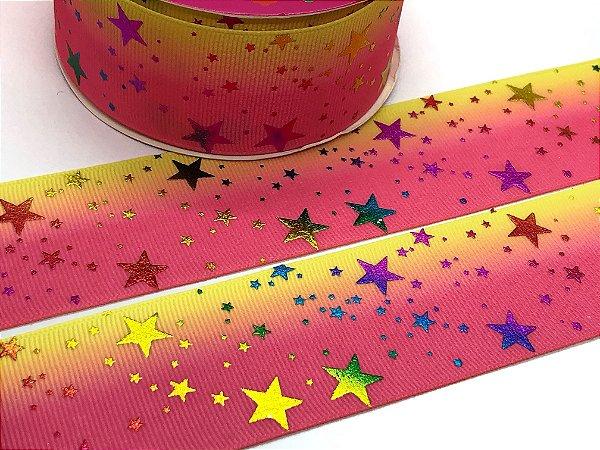 Fita Importada - Estrelas Metalizadas - Rosa e Amarela - 38mm - 4,5 metros
