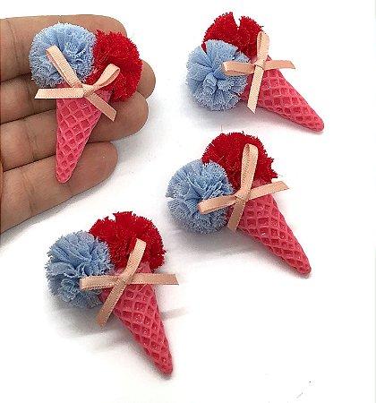 Aplique de Sorvetinho Duplo Grande - Casquinha Pink Pompom Azul e Vermelho - Unidade