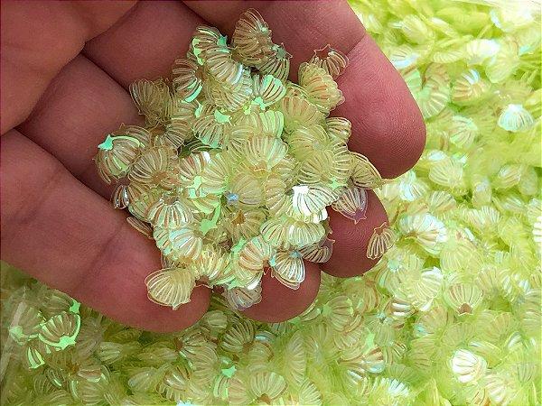 Micro Conchinhas para Laços - Verde Translúcido - Pacote com 10 gramas