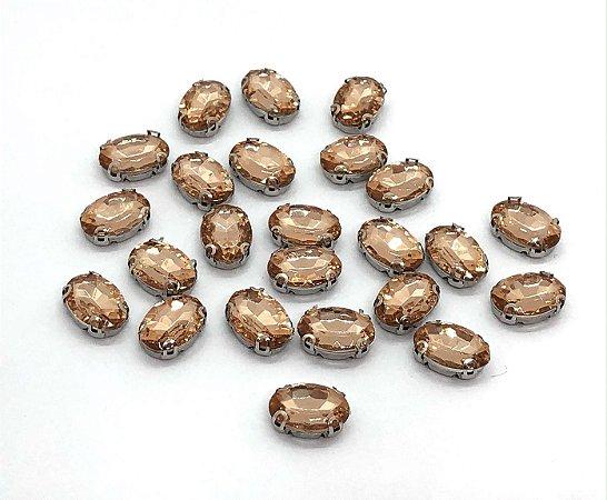 Pedra Oval Cristal com Garra Prata - Pêssego - 10x14mm - 5 unidades