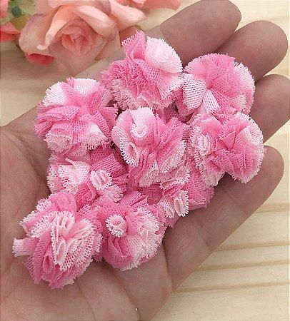 Pompom de Poliéster - Rosa Mesclado - 2,5cm - 10 unidades