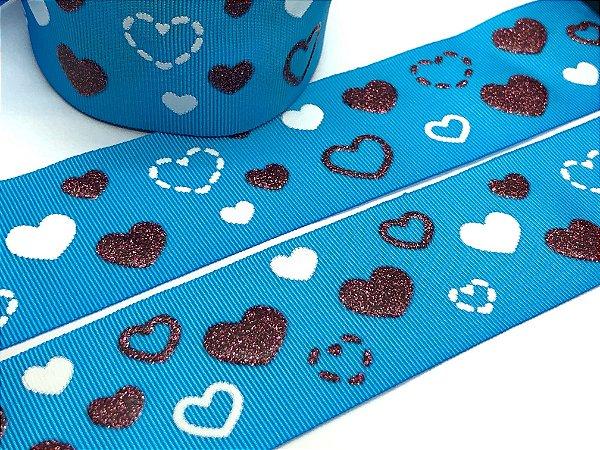 Fita de Gorgurão com Glitter - Azul co Corações - Progresso - 38mm