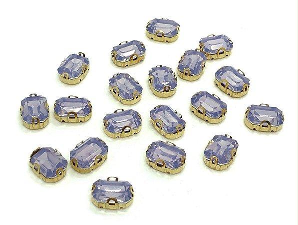 Pedra Retangular Garra Dourada - Lilás Fumê - 10x14 - 5 unidades
