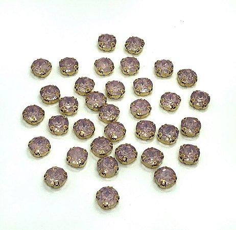 Pedra Redonda Garra Dourada - Rosa Claro Fumê - 10mm - 5 unidades