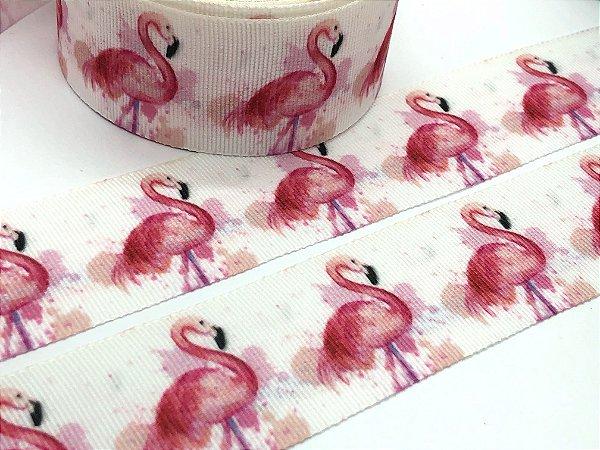 Fita de Gorgurão Estampada - Flamingos Aquarela - Artfitas - 38mm