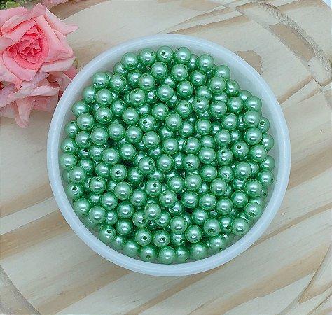 Pérolas ABS - Verde Suave - 8mm - 30 gramas