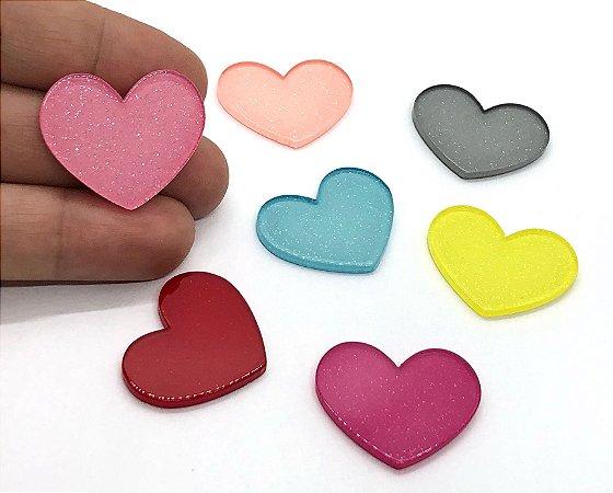 Aplique Acrílico - Coração com Brilho - 2 Unidades